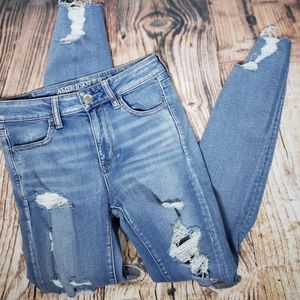 American Eagle Hi Rise Jegging Jeans Distressed